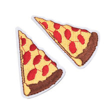 2X Pizza Embroidery Iron on patches sewn For clothing Applique Hat backpack *