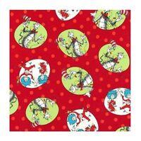 Christmas Fabric - Seuss Cat in Hat Red Green Portrait - Robert Kaufman YARD