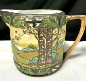 """Antique Nippon Hand Painted """"Woodland"""" Pattern Scenic Enameled Milk Pitcher"""