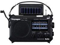 Kaito Voyager KA500 Solar Radio with Weather Band and LED Flashlight - Black