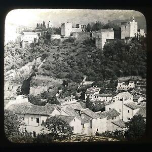 The Alhambra and Snowy Sierras, Granada, Spain Magic Lantern Slide