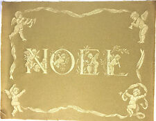 """Tapestry Panel Home Decor Christmas Gold Noel 18"""" x 14"""" Cotton New"""