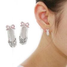 Women Ballet Shoes Pink Bowknot Full Rhinestone Lovely Plated Ear Stud Earring