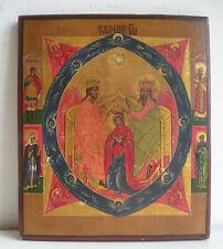 MADONNA INCORONATA Icona Russa dipinta su tavola antica Russian icon