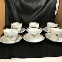 Set of 6 Gold Floral on White Tea Cups and Saucers Stamped P 12 pc