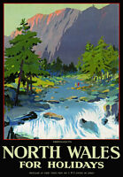TU58 Vintage North Wales Aberglaslyn LMS Railway Travel Poster Re-Print A4