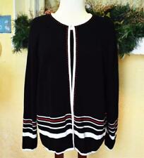 Womens XL Twin Set Black Multi Round Neck Stripe Border LS Hook Eye Embroidery