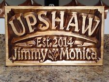 WOODEN WEDDING SIGN ESTABLISHED DATE FAMILY NAME PERSONALIZED GIFT  ANNIVERSARY