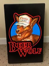 Coors Light Beer Wolf Lighted Sign 26x16 Unused Bar Restaurant Pub Game Room