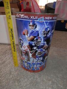 "New York Giants Super Bowl XLII 15"" Waste Basket Trash Can NEW VTG Champions"
