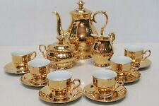 EPIAG Gold Luster Porcelain 15 Piece Tea Set Cups,Saucers,Teapot CZECH - 250