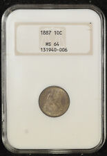 1887 Seated Dime NGC MS 64 1st Generation Slab -An Attractive Original Coin