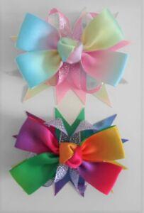 Satin Rainbow Ribbon Hair Bow Alligator Clip Or Brooch Pin Bridesmaid 🇬🇧