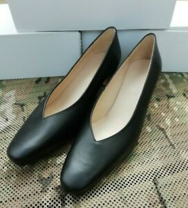 New British Military Classic Formal Black Court Shoes with Heel - Size UK 8 1/2