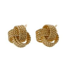 Classic Silvery Golden Twisted Love Knot Ball Stud Earrings For Women Jewelry