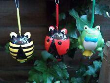 Conjunto de 3 Carillón de viento Rana/Ladybird/Bumblebee (cerámica)