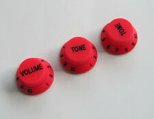 Red w/ Black Numbers ST Strat Guitar Knobs Volume Tone Knob fits Stratocaster