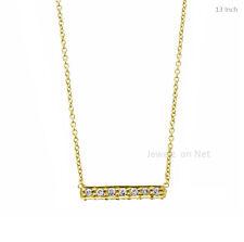 18k Yellow Gold Pave Diamond Bar Pendant Necklace Fine Diamond Women Jewelry