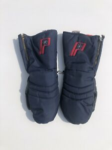 Vintage 60's 70's Polaris Red white & blue Snowmobile Mittens Adult size L