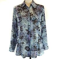 CAbi Top Size Small Womens Blue Python Print Sheer Long Sleeve #609 Button Front