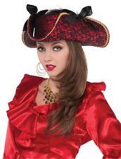 Sombrero De Pirata Mujer Rojo Y Negro Encaje con lazos Accesorio Para Disfraz