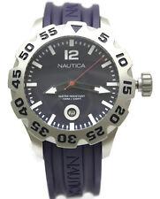 New Nautica BFD 100 Diver Dark Purple Rubber Date Men Watch 50mm N14601G $145