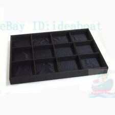 35x25cm black satin Shop Jewelry Display Tray Holder Case with 12 compartments