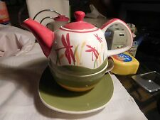 Teapot HuesNBrews w Cup & Saucer Stacking Tea for One Dragonfly Htf NEW