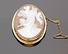 VINTAGE 9CT YELLOW GOLD CAMEO BROOCH - 1968