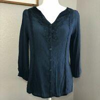 Rue 21 Navy Blue Button Up Blouse Shirt Top - Women's Size Small