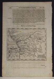 CONGO & ANGOLA1600 JOHN LEO AFRICANUS & HONDIUS RARE ANTIQUE COPPER ENGRAVED MAP