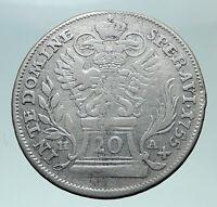 1755 AUSTRIA Roman Emperor Franz I Genuine Silver 20Kreuzer Austrian Coin i81474