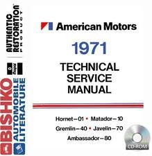 1971 AMC Javelin Ambassador Service Shop Repair Manual CD