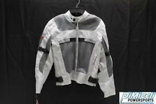 NEW SMALL OFF WHITE POLYESTER REFLECTIVE ARMOR MOTORCYCLE JACKET*JACKET RUN SML