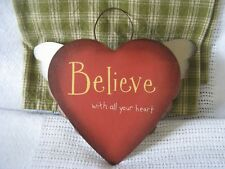 "PRIMITIVE HEART WITH WINGS METAL WALL HANGING ""BELIEVE WITH ALL YOUR HEART"" NWOT"