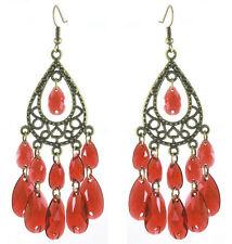 C1242 bronze water drop red bead cute women chandelier/dangle hook earrings hot
