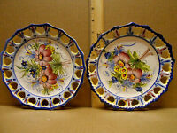 "Set of two Tierra Fina Floral  Pierced Plates 7 1/2"" Art Pottery  Portugal"