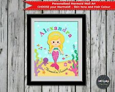 MERMAID IN TRAINING NURSERY WALL ART ROOM DECOR PRINTS PERSONALISED GIRLS