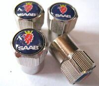 SAAB VALVE CAPS 9-3 9-5 9-7X 900 9000 TURBO AERO TIRES WHEELS RIMS NEW