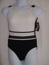 Mainstream Size 12 Black, White & Gray One Piece Swim Suit