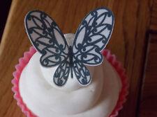 12 Color Blanco Y Negro Comestibles De Oblea De Papel Mariposas cake/cupcake Toppers