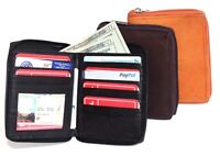Genuine Leather Men ID Card Zip Around Safe Bifold Tall Wallet 10 Cards FREE SH