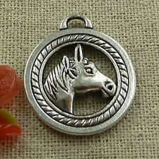 Free Ship 30 pieces tibetan silver horse head charms 28x25mm #1502