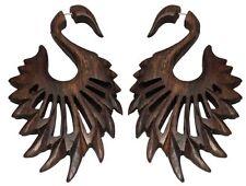 Handmade Wooden African Tribal BIG Swan Wings Fake Gauge Wood Earring WER061