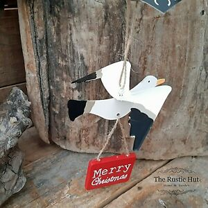 Merry Christmas Seagull Hanging Christmas Decoration by Shoeless Joe