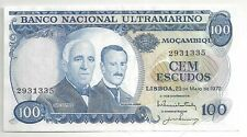 New listing Authentic Mozambique, Banco National Ultramarino 100 Escudos 1972 P-113 Au