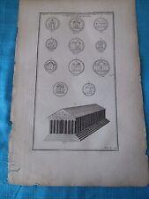 Incisione del 1700 - Templi Minerva, Apollo... - Originale di epoca - cm 42 X 28