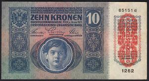 1915 (1919) Austria 10 Kronen Old Vintage Paper Money Banknote Currency Note XF