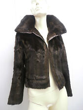 SAKS FIFTH AVENUE s5a FAUX FUR BROWN EVENING JACKET MOD 70S HOT FRANCE COUTURE
