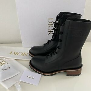 Dior Quest Combat Boot Black Leather IT 39.5 US 8.5 New $1650